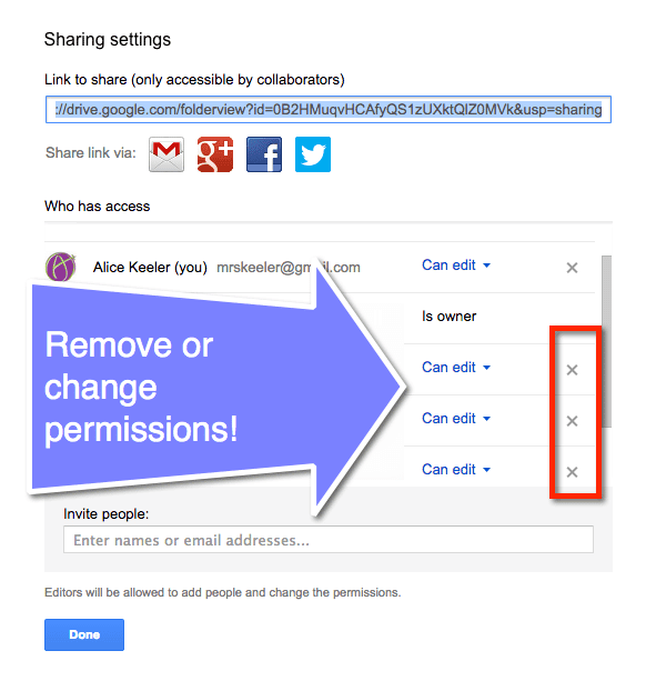 remove or change permissions on sharing google docs