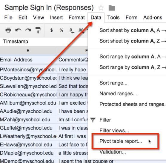 Pivot Table Report Google Sheets