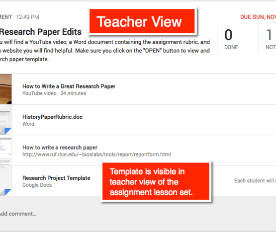 Google Classroom Teacher View of a Lesson Set