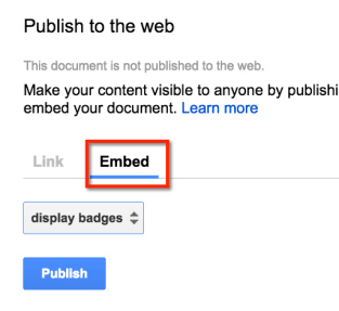 Embed and publish