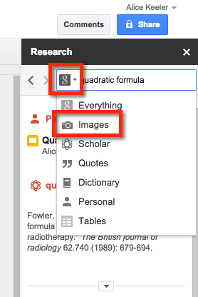 Filter Google Research Pane by Images