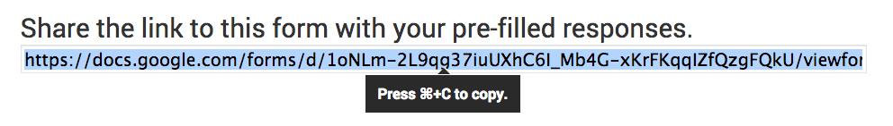 Copy Pre-Filled URL