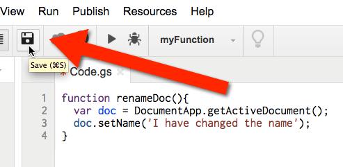 Google Apps Script Save