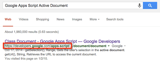 Google Apps Script search