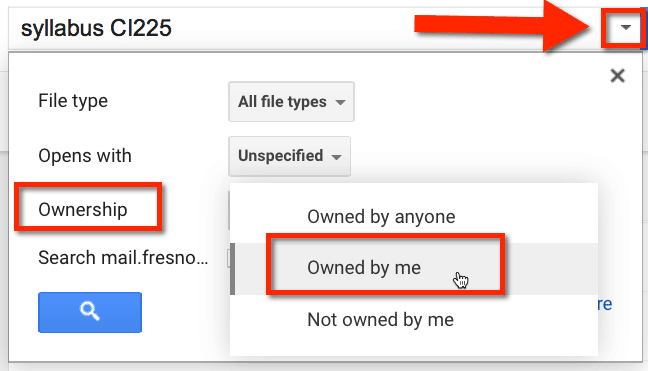 Google Drive Filter Owned by me