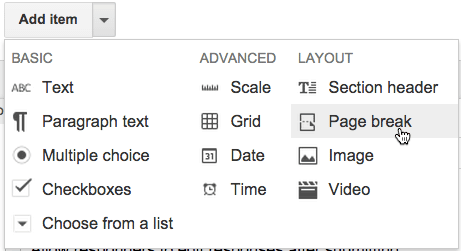 Google Forms add page break
