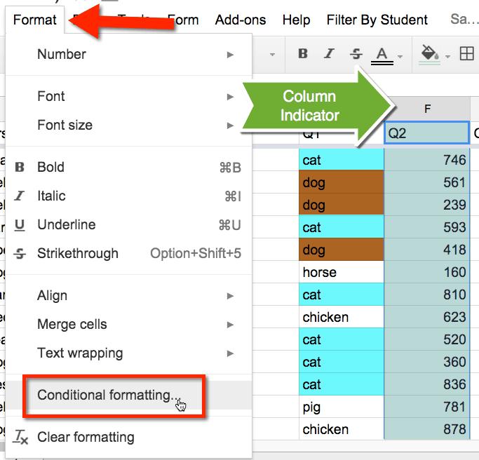 highlight column in google sheets