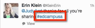 Using edcampusa hashtag