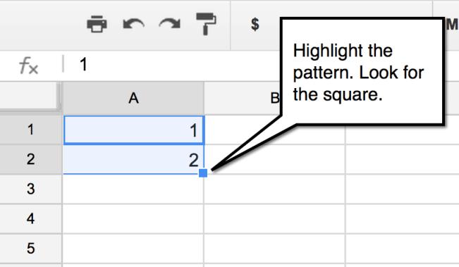 google sheets fill down square