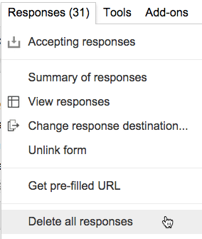 Deleting responses from the Form does NOT remove them from the spreadsheet.