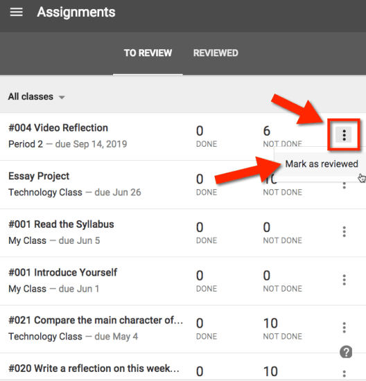 Mark as Reviewed Google Classroom Assignment