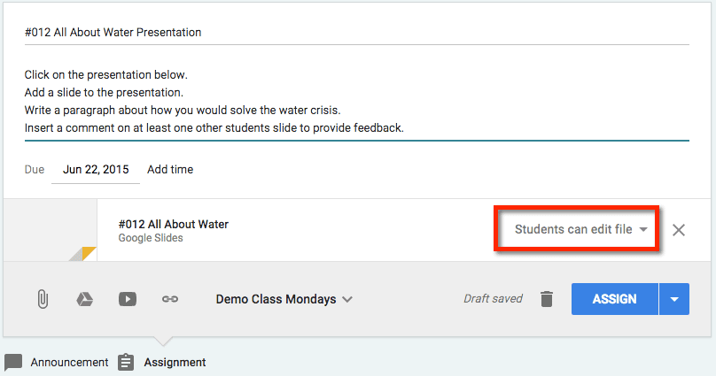 Students can edit file