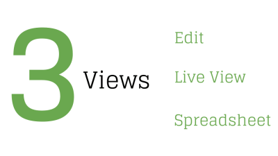 Google Forms 3 views: Edit, Live View, Spreadsheet