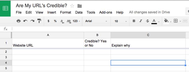 Sample Credibility Spreadsheet