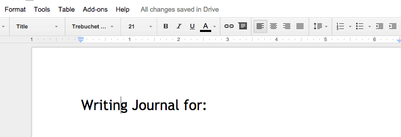 Writing Journal Title