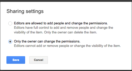 Only owner can change sharing permissions