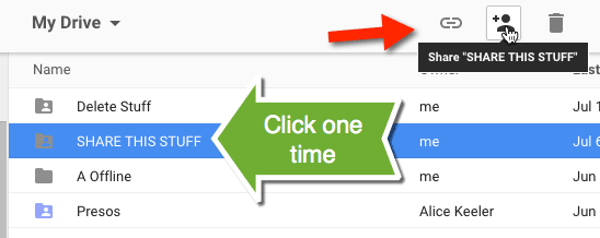 Click one time on a folder in Google Drive