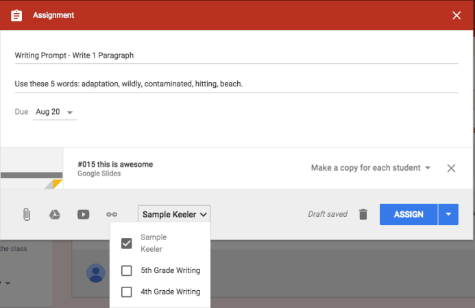Assign post to Google Classroom