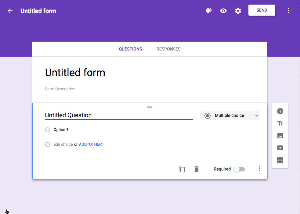 New Google Forms is purple
