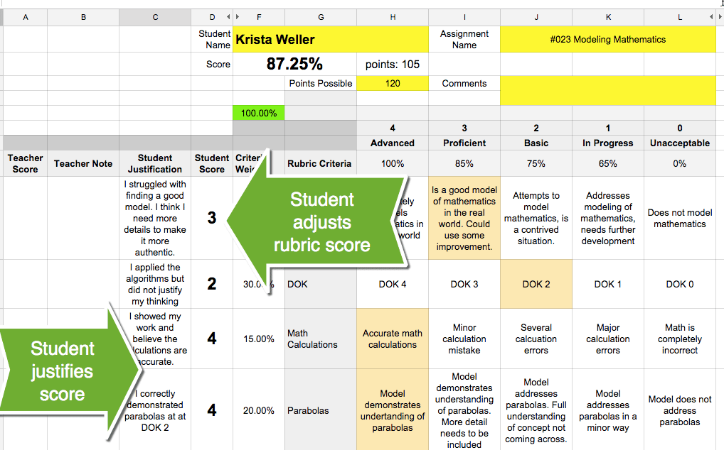 Rubric scores by student