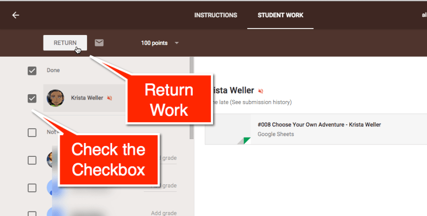 Return student work