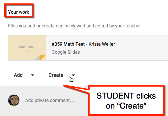 students click create