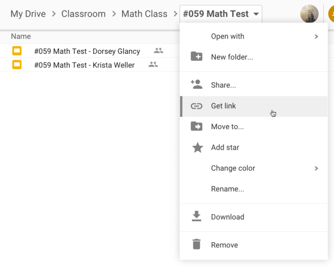 Folder Options in Google Drive