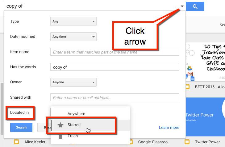 Click search arrow