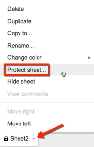 click on spreadsheet tab to reveal protect sheet