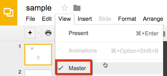 Google Slides edit slide master