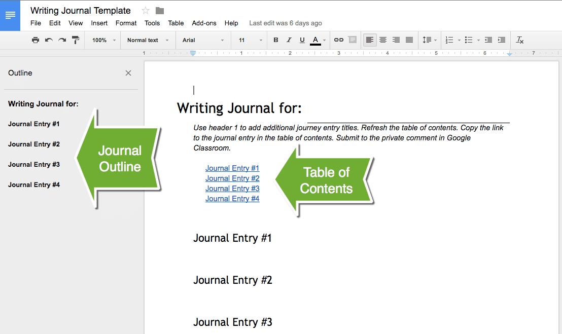 Alice Keeler Writing Journal Template
