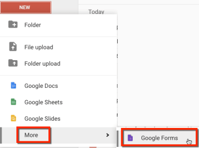 create a google form in google drive