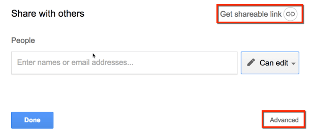 get a sharable link in Google Docs