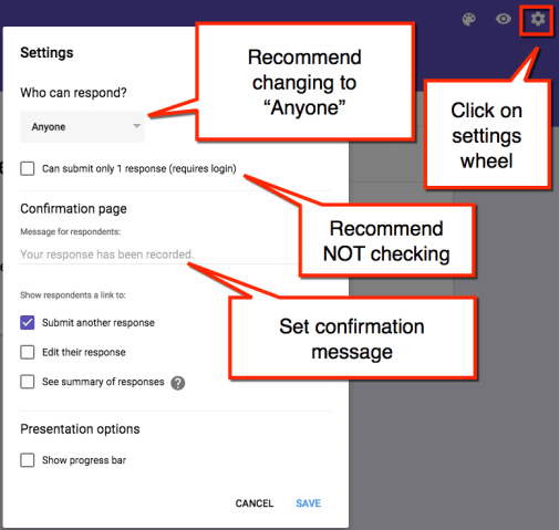 google forms settings screen