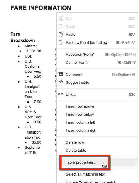 right click on the column and choose table properties