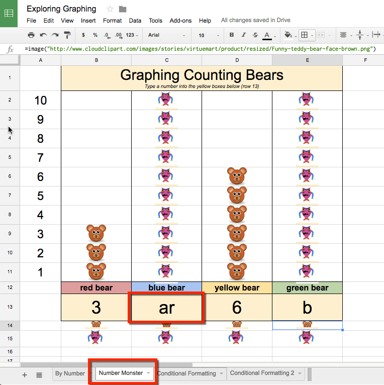 second tab of the spreadsheet type in letters and get an error