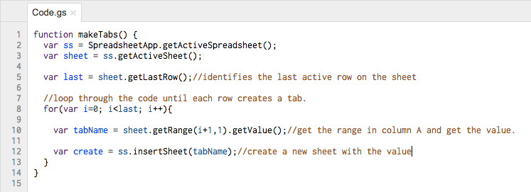 google sheets create a script to insert multiple tabs
