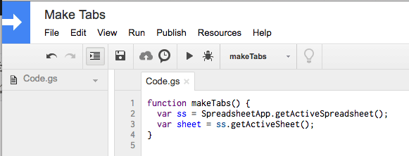 Script editor code the sheet and spreadsheet