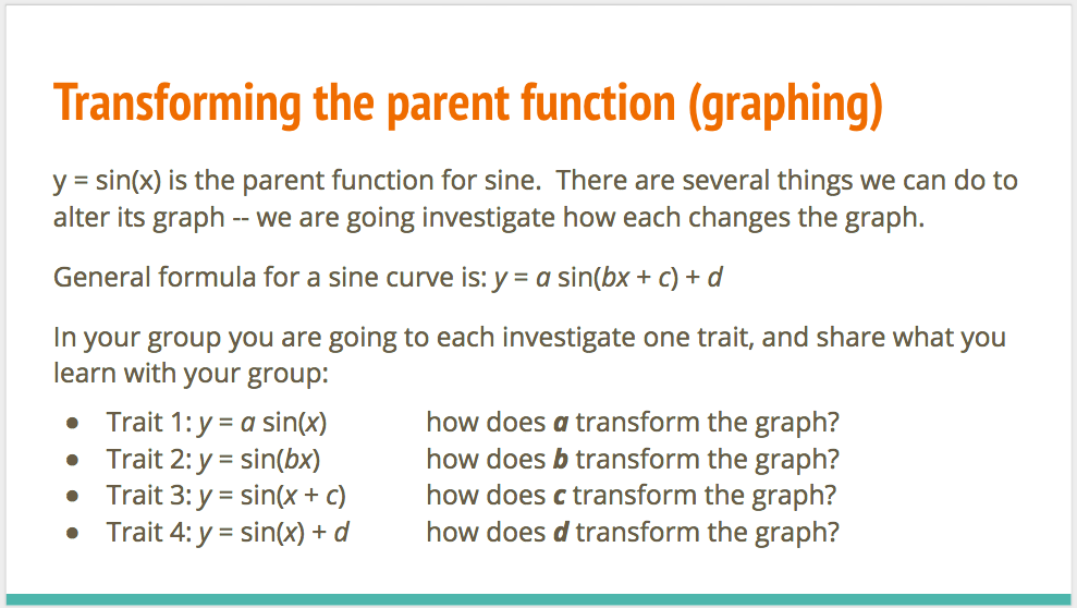Investigating the sine function on google slides Small group investigation