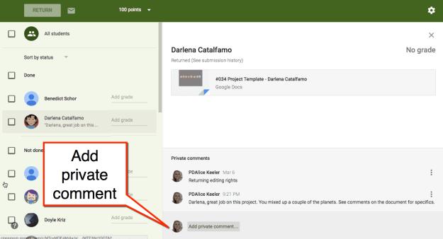 add private comment in google classroom