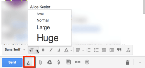 gmail create big text