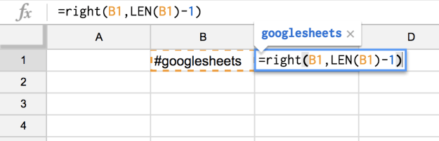 google sheets right and length remove a character