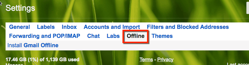 offline for gmail