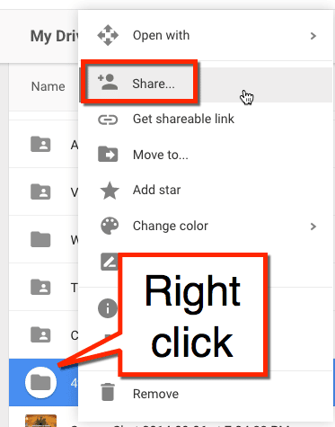 right click on folder in Google Drive