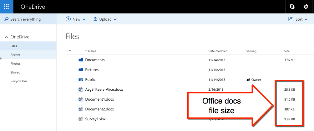 office docs are NOT free storage