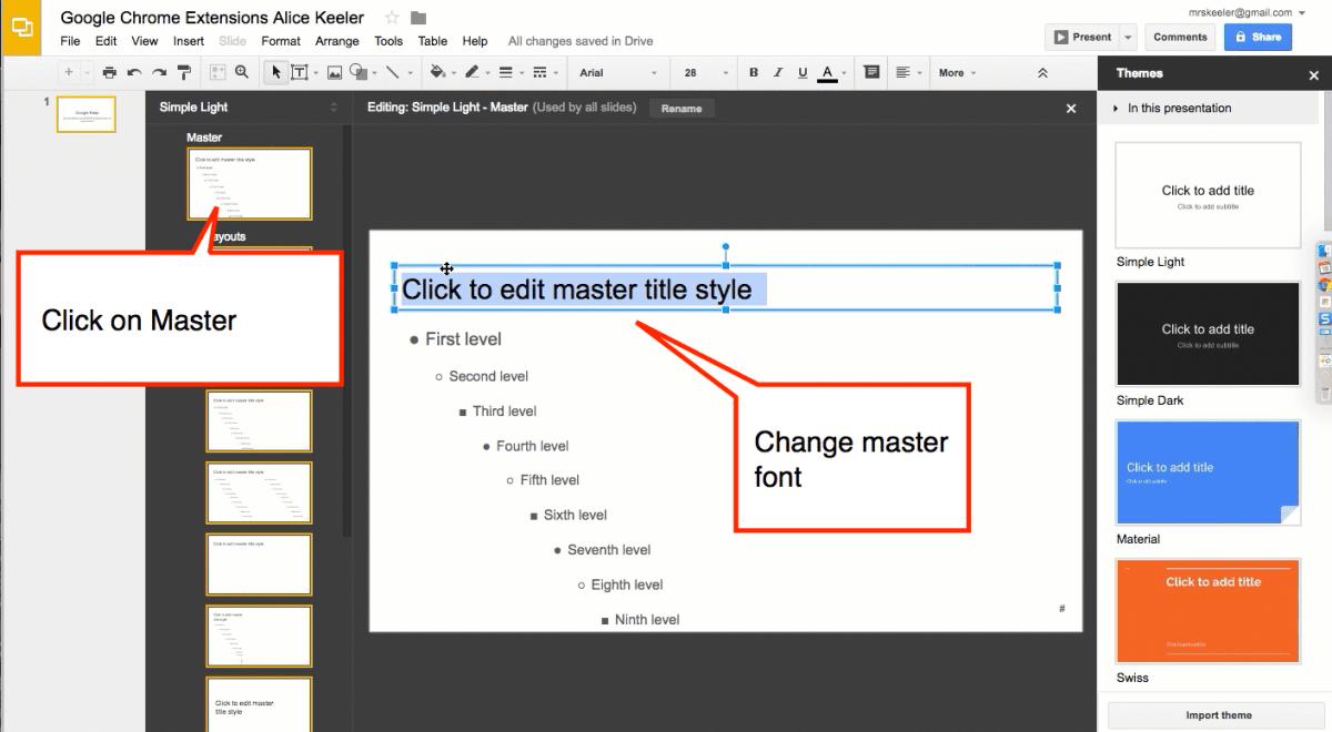 Slides Master set the font