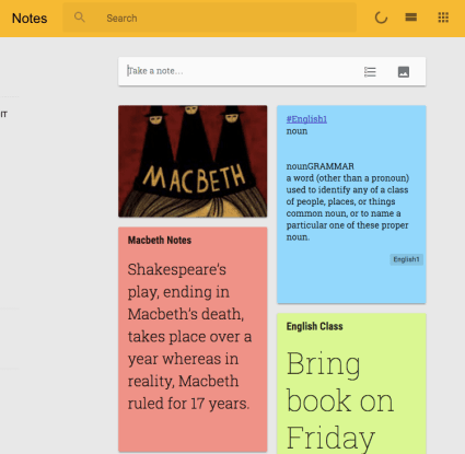 Google Keep Notes for English