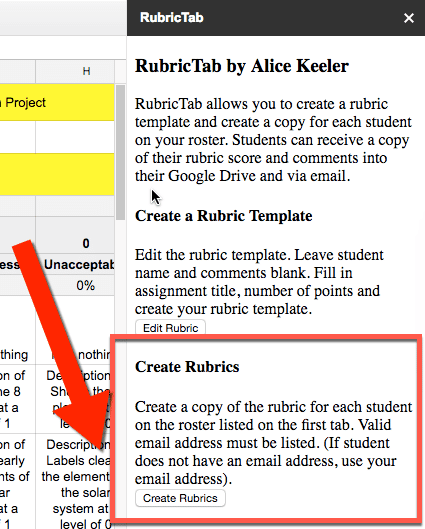 create rubrics button in the sidebar