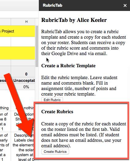 create rubrics button in the sidebar