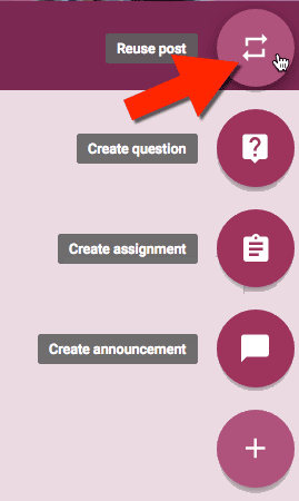 reuse post google classroom